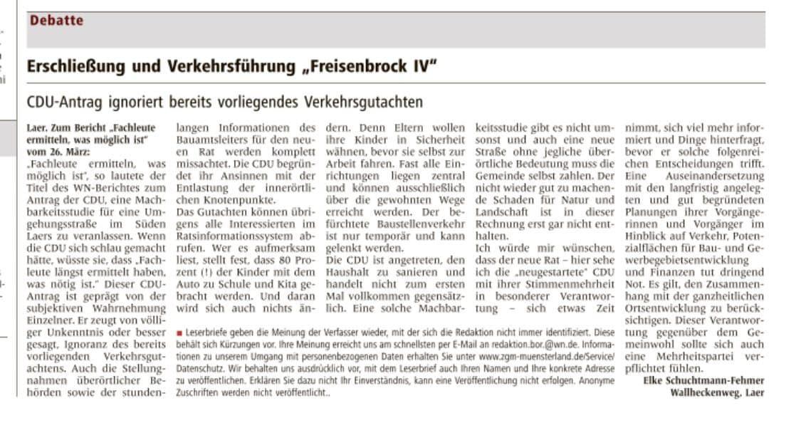Leserbrief von Elke Schuchtmann-Fehmer vom 29. März 2021, veröffentlicht in den Westfälischen Nachrichten