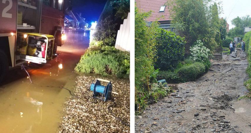 Viel Arbeit für die Feuerwehr und Spuren der Verwüstung nach dem Starkregen an Fronleichnam 2021 in Laer